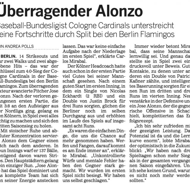 Jose Alonzo Kölns Spieler der Woche